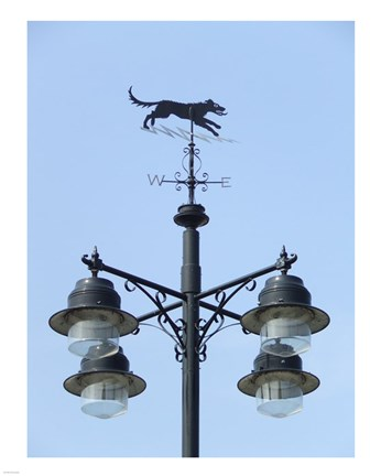 Framed Street Light Detail with Weathervane Print