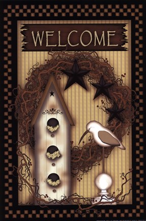 Framed Birdhouse Welcome Print