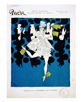 Framed Where is my Boy To-Night Puck Magazine Cover April 7, 1917 Print