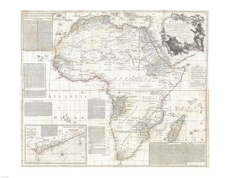 Framed 1794 Boulton and Anville Wall Map of Africa Print