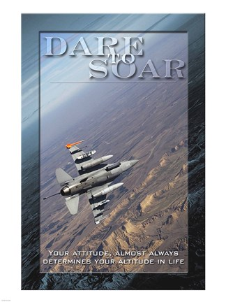 Framed Dare to Soar Affirmation Poster, USAF Print