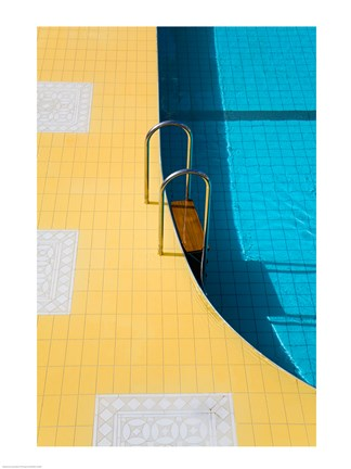 Framed High angle view of a swimming pool ladder, Banderas Bay, Puerto Vallarta, Jalisco, Mexico Print