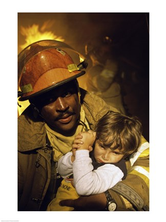 Framed Firefighter carrying a boy Print