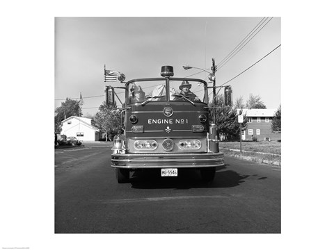 Framed Fire engine on road Print