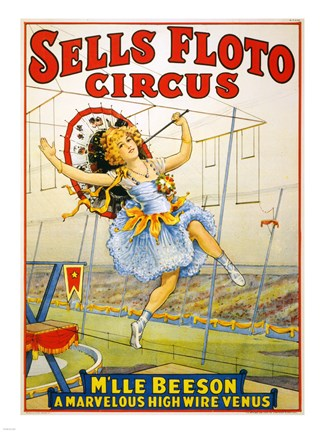 Framed Floto Circus Presents M'lle Beeson, a marvelous high wire Venus, Performance Poster,1921 Print