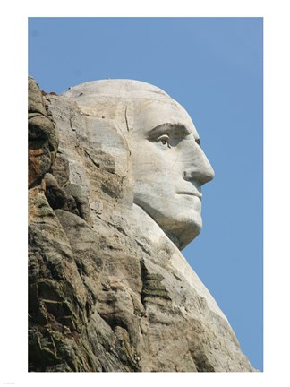 Framed Sideview of George Washington Statue at Mt Rushmore Print