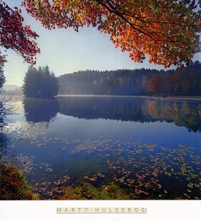 Framed Bass Lake in Autumn I Print
