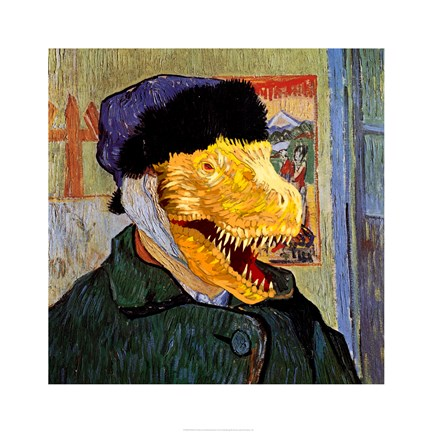 Framed T Rex Van Gogh with Bandaged Battle Damaged Ear Print