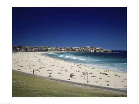 Framed High angle view of tourists on the beach, Bondi Beach, Sydney, New South Wales, Australia Print