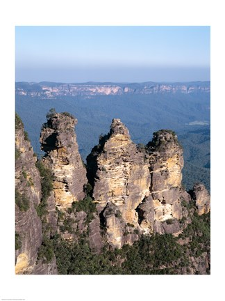 Framed High angle view of rock formations, Three Sisters, Blue Mountains National Park, Katoomba, Australia Print