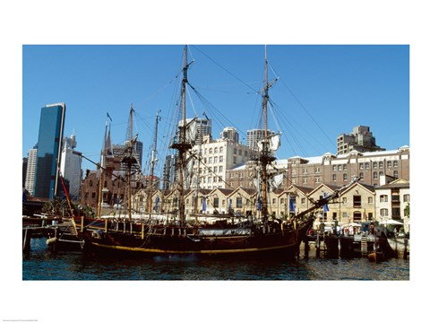 Framed Sailing ship moored in a harbor, Waterfront Restaurant, Sydney, New South Wales, Australia Print