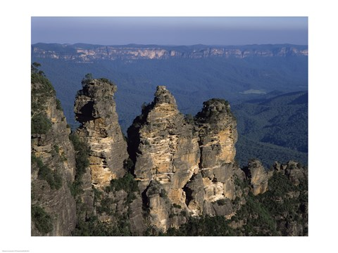Framed High angle view of rock formations, Three Sisters, Blue Mountains, New South Wales, Australia Print