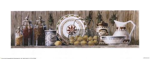 Framed Assorted Jars and Plates Print