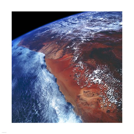 Framed Coastal Namibia photographed from the Space Shuttle Columbia Print