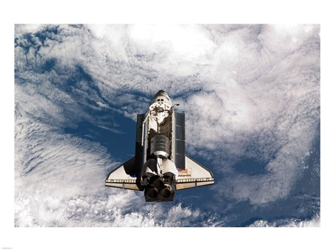Framed STS-135 Atlantis during the Rendezvous Pitch Maneuver Print