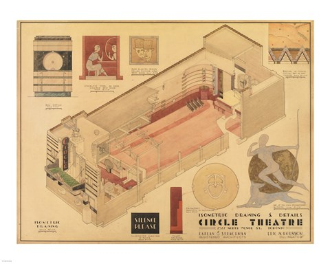 Framed Circle Theatre isometric drawing 1932 Print
