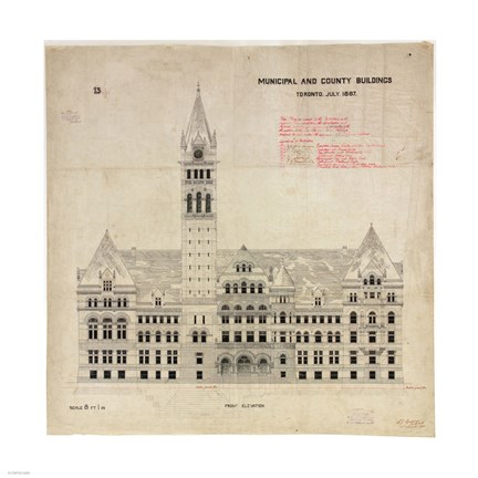 Framed Municipal and County Buildings Toronto July 1887 Print