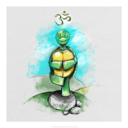 Framed Yoga Turtle II Print