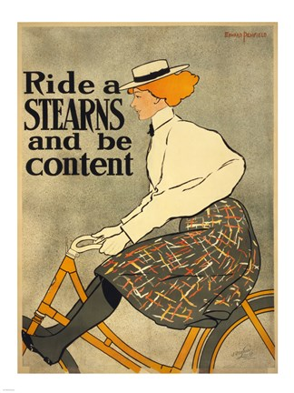 Framed Ride a Stearns Bicycle Print