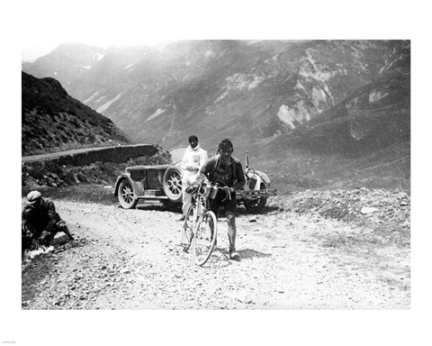 Framed Belgian Maurice Geldhof is climbing part of the Aubisque on foot. Tour de France 1928 Print