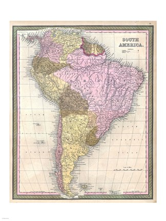 Framed 1850 Mitchell Map of South America - Geographicus Print