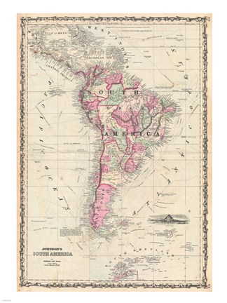 Framed 1862 Johnson Map of South America Print