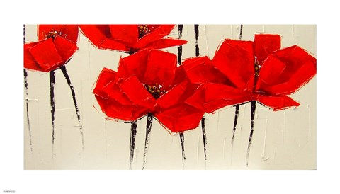 Framed Abstract Red Poppies Print