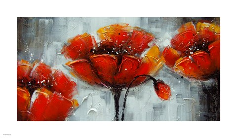 Framed Abstract Poppies Print