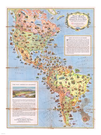 1930 Pictorial Map of North America and South America on tectonic map of north america, glacial map of north america, physiographic map of north america,