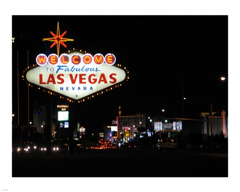 Framed Welcome To Vegas sign Print