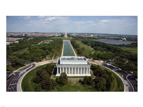 Framed Ariel view of the Lincoln Memorial Print