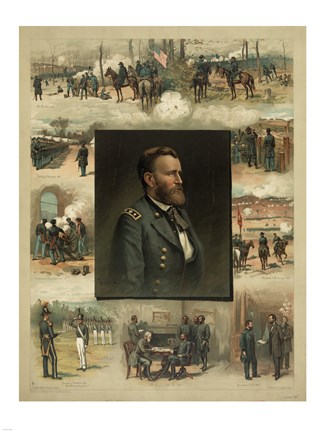 Framed Civil War Grant from West Point to Appomattox Print