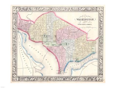 image regarding Printable Map of Washington Dc titled 1864 Mitc Map of Washington D.C.
