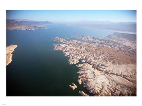 Framed Aerial view, Lake Mead near Las Vegas, Nevada and the Grand Canyon Print