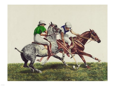 Framed Polo - two horses Print