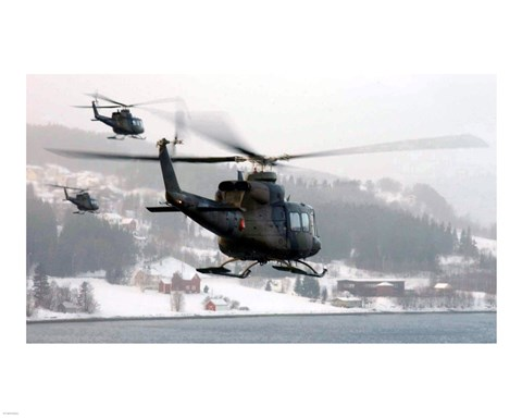 Framed Norwegian military Bell 412SP helicopters Print