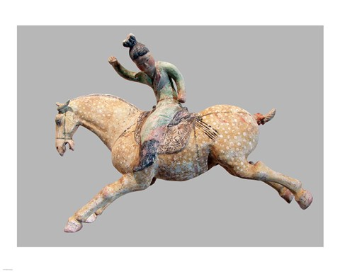 A ceramic female polo player, from northern China, Tang Dynasty