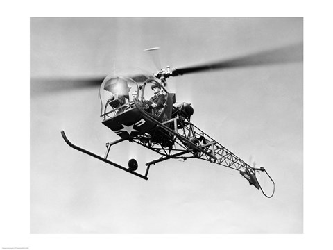 Framed Low angle view of military helicopter in flight Print