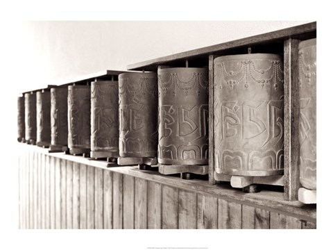 Framed Tibetan Prayer Wheels Print