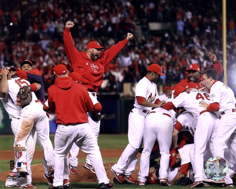 Framed St. Louis Cardinals Celebrate Winning World Series in Game 7 of the 2011 World Series (Team Celebration) Print