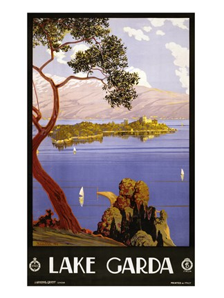 Framed Lake Garda Travel Poster Print