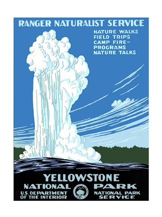 Framed Yellowstone National Park poster 1938 Print