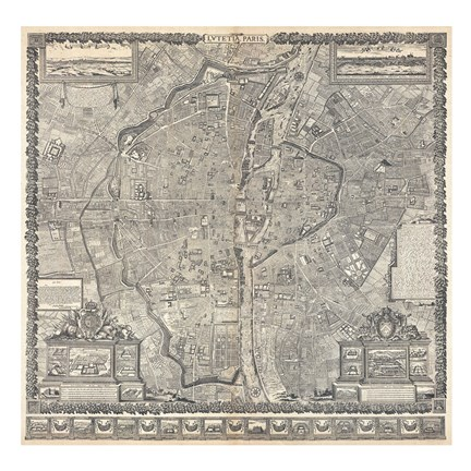 Framed 1652 Gomboust Map of Paris, France Print