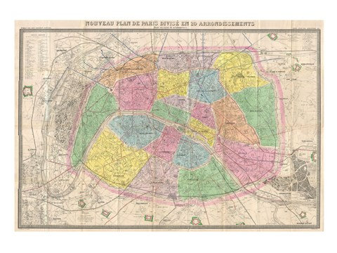 Framed 1867 colored Logerot Map of Paris, France Print