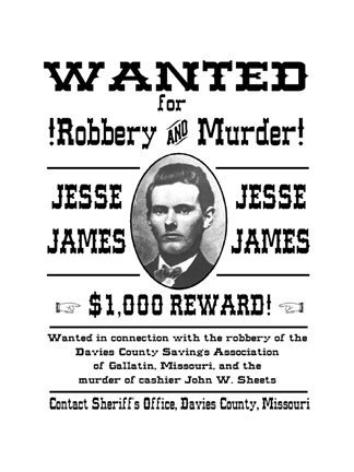 Jesse James Wanted Poster Fine Art Print By Unknown At
