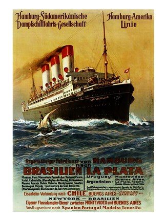 Framed Poster of the Hamburg South American Steamship Company Print