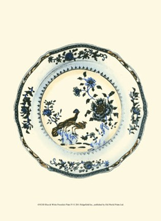Framed Blue & White Porcelain Plate IV Print