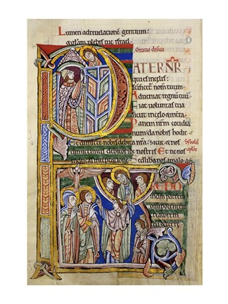 Framed Our Father, initial P In Albani Psalter Print