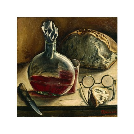 Framed Still Life with Jug of Wine, Bread and Glasses Print