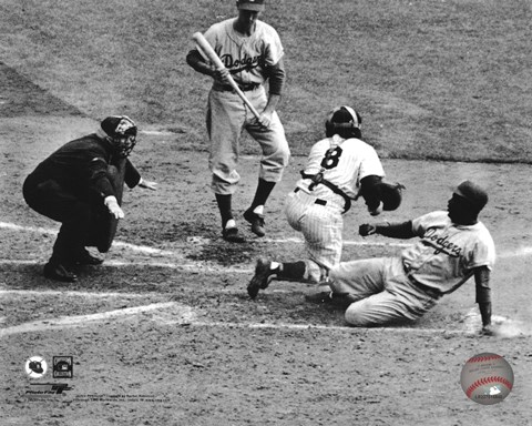 Framed Jackie Robinson steals home during the 1955 World Series Print